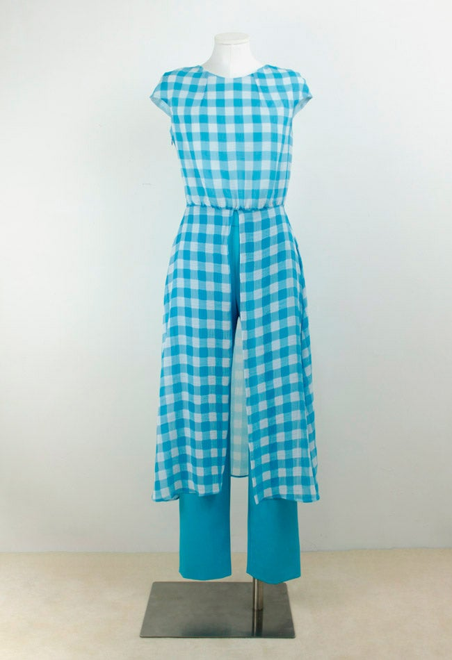 Image of PANTS + CHECK PRINT DRESS