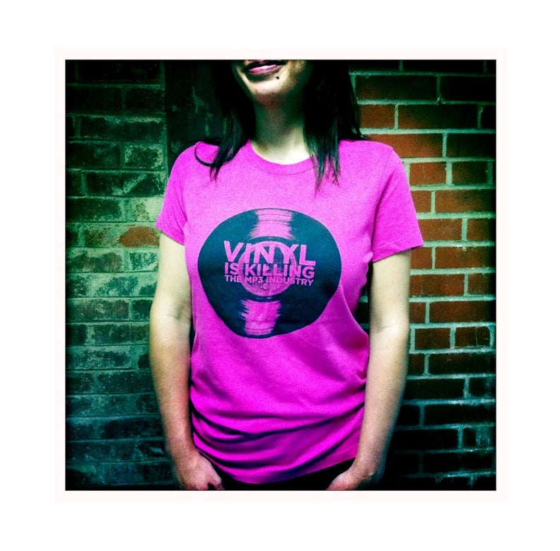 """Image of Vinyl is Killing the MP3 Industry"""" T-Shirt (Berry)"""