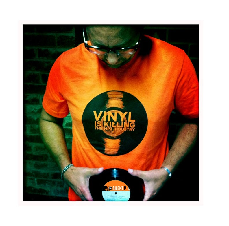 """Vinyl is Killing the MP3 Industry"" T-Shirt (Orange)"