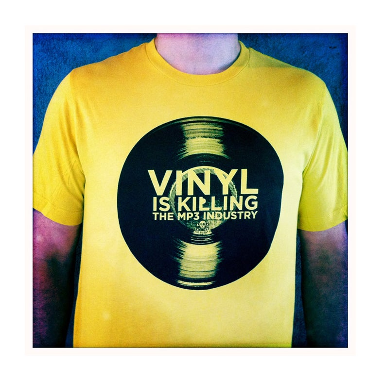 "Image of ""Vinyl Is Killing the MP3 Industry"" T-Shirt (Yella)"