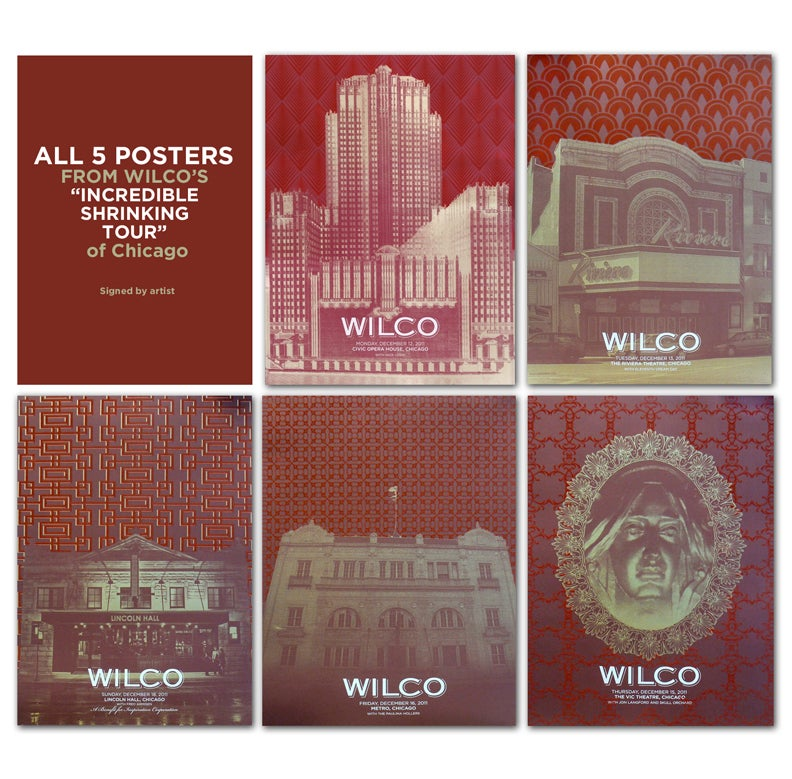 """All 5 Wilco Felt Posters from """"The Incredible Shrinking Tour of Chicago"""""""
