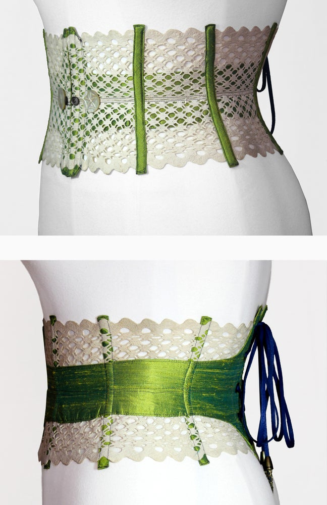 Image of Green Reversible Corseted Belt