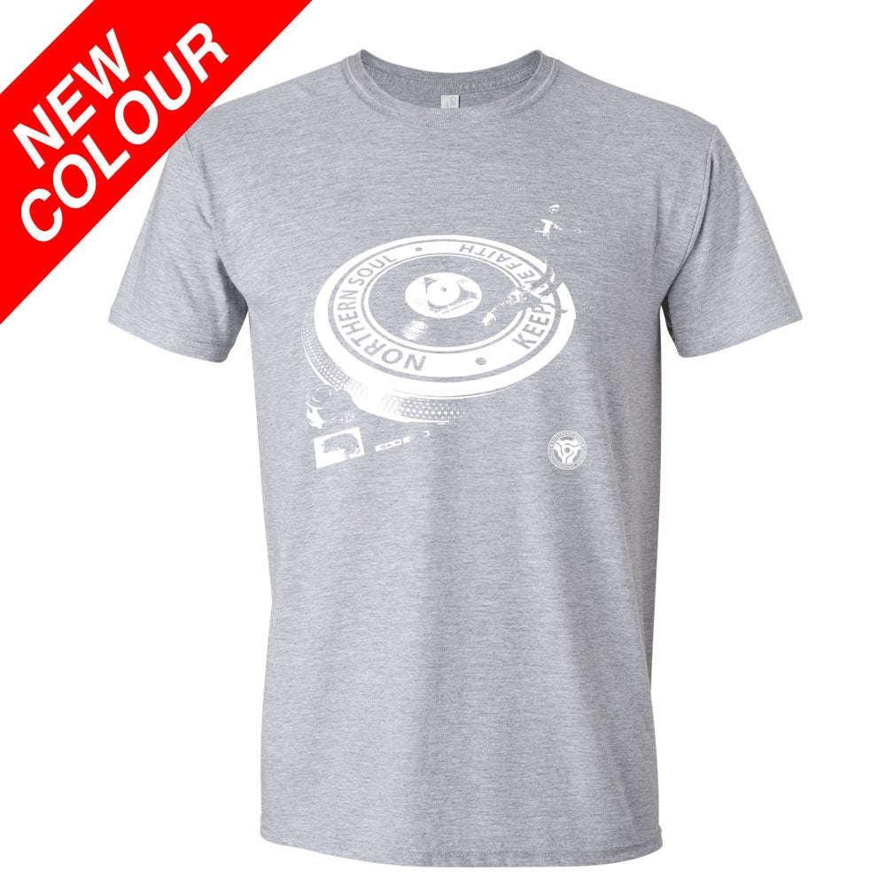 Image of Northern Soul - Turntable T-Shirt. SPORTS GREY