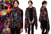 "Image of ""Needlepoint"" Print Wool Shawl/Scarf"