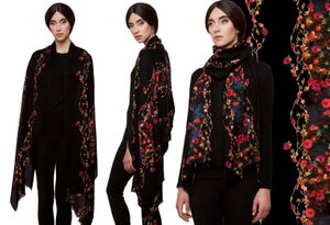 "Image of ""Baroque""Print Wool Shawl/Scarf"