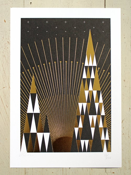 Image of Golden Dawn art print - Limited Edition black with gold foil