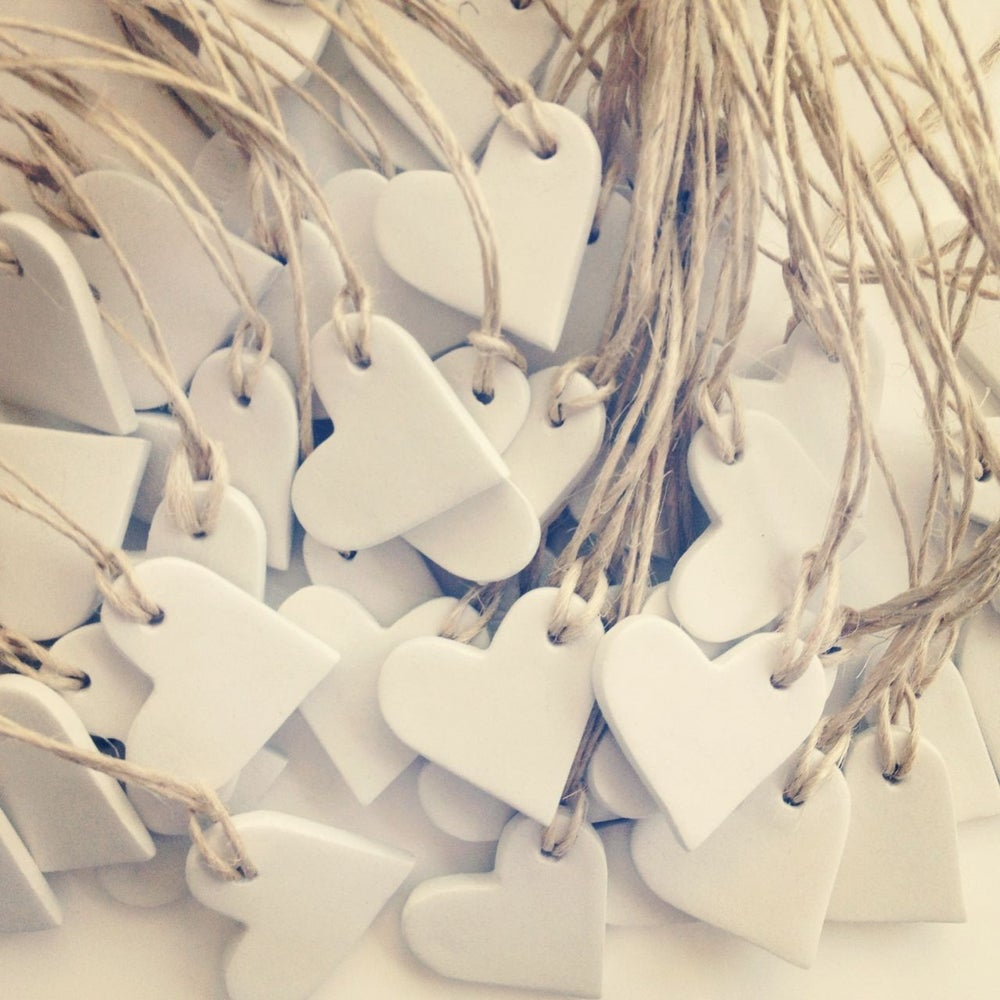 Image of mini hearts clay tags {set of 10}