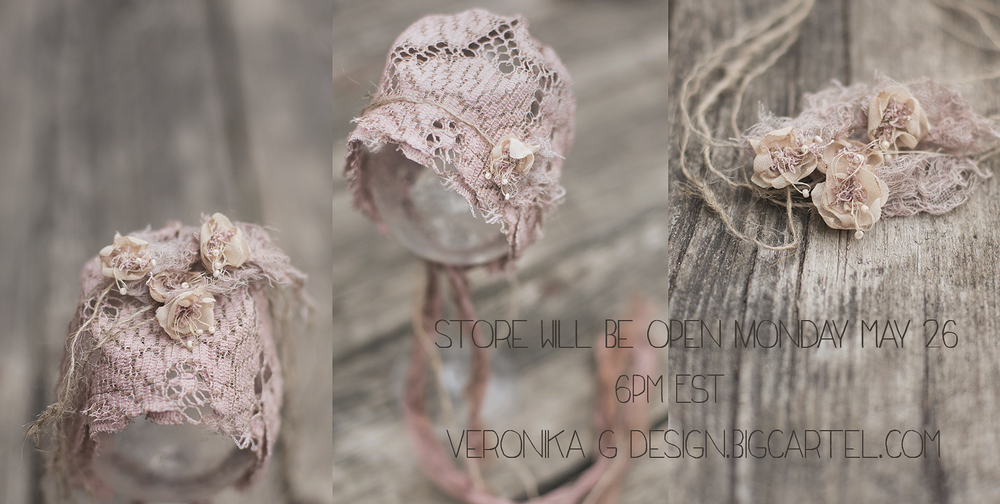 Image of ~ Brown Hand dyed vintage lace bonnet~