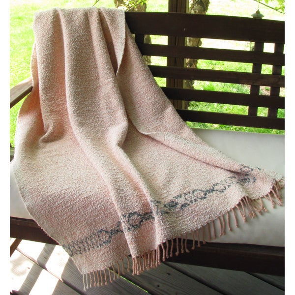 Miranda's Loom Coverlet Throw Blanket Sand Peach Blue Green Enchanting Peach Colored Throw Blanket