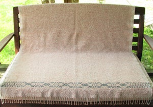 Image of Coverlet Throw Blanket - Sand Peach Blue Green, Handwoven