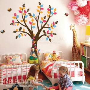 Image of Tree with Ribbon Vine Wall Decal Tree Wall Sticker Kids Nursery Bedroom