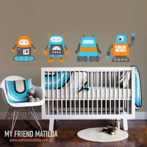 Image of My Robot Family Wall Decal Sticker M012 Boys Bedroom Nursery