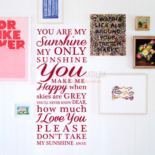 You Are My Sunshine My Only Sunshine Wall Decal Sticker