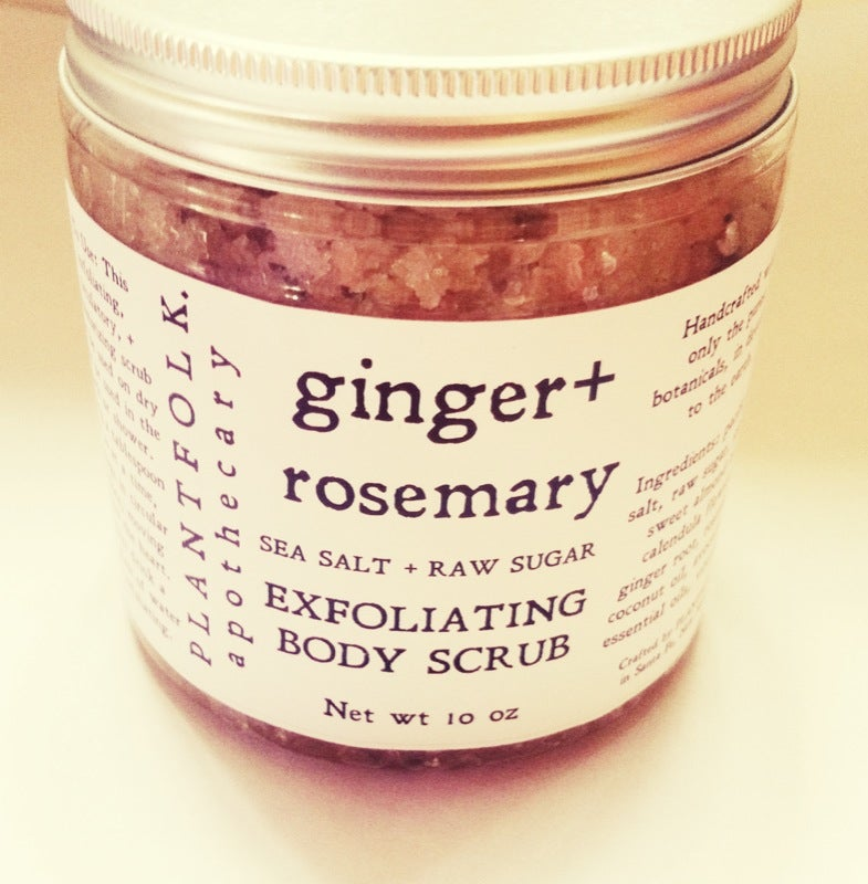 Image of ginger + rosemary Sea Salt & raw sugar body scrub