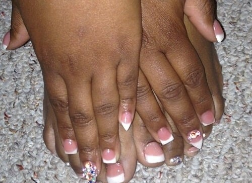 Pink White Short Full Set W Acrylic On Toes Misschellesnailz