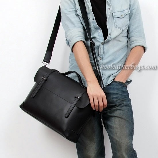 "Image of Handmade Genuine Leather Briefcase / Messenger / 14"" Laptop 13"" MacBook Bag (n3611)"