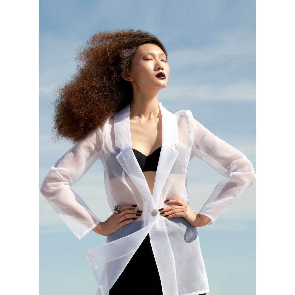 Image of Black or White organza blazer