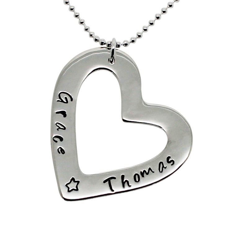 Image of Heart of Love Sterling Silver Necklace - Personalised