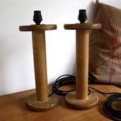 Image of Vintage Wooden Bobbin Lamp