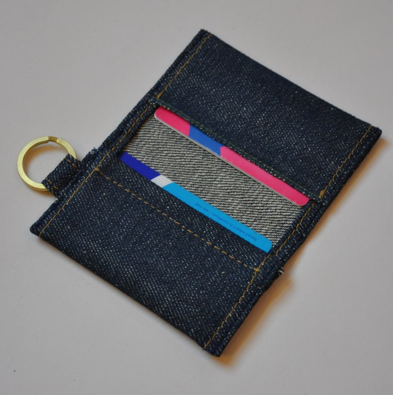 Image of Selvedge Denim Card Holder (with split ring)