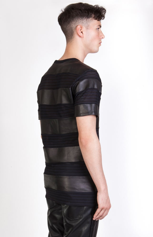 Image of SS Transparent - Leather Stripe T-Shirt - Black
