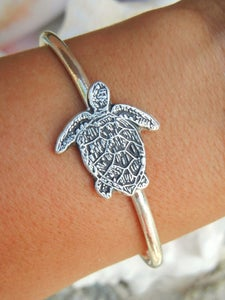 Image of Sea Turtle Jewelry, Silver Sea Turtle Bracelet, Sterling Silver Sea Turtle Cuff Bracelet