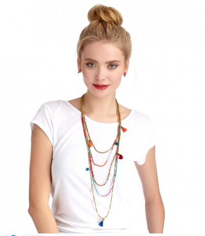 Image of BOHO LAYERED TASSEL AND POM NECKLACE