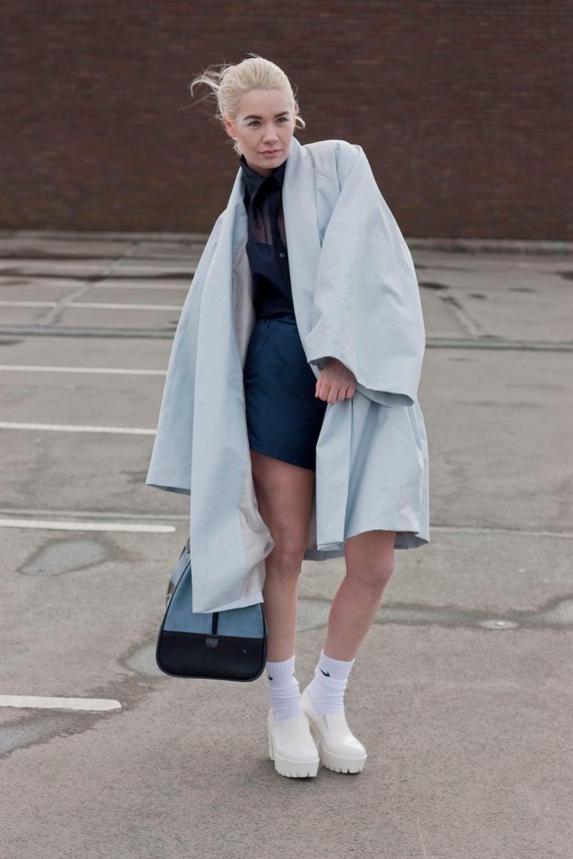 Image of Light Blue showerproof cotton kimac