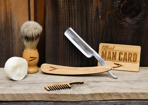 Image of Personalized Handmade Straight Razor with Travel Strop - Bamboo