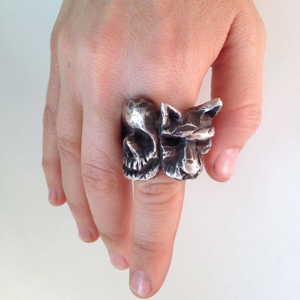 Image of The Loyal Wolf Skull Ring