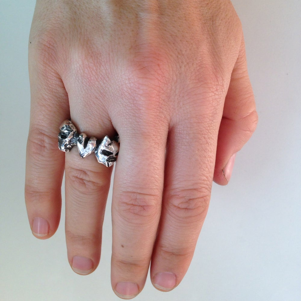 Image of Throw Your Love To The Wolves Skull Ring