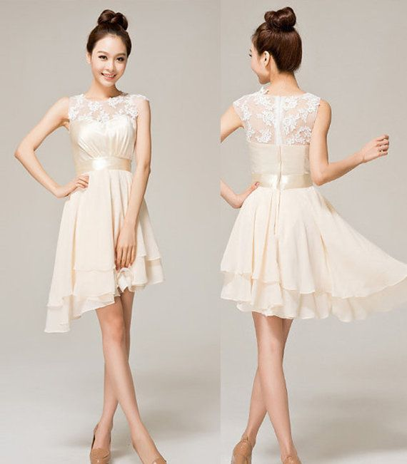 Fashion Elegant Cute Champagne Color Lace Dress For Wedding For