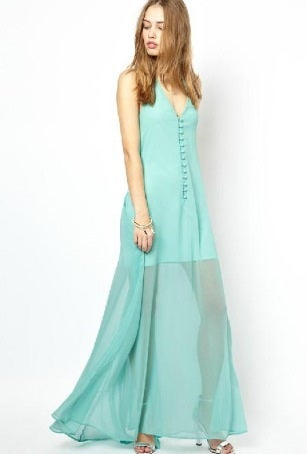 Image of Deep V Halter Chiffon Dress
