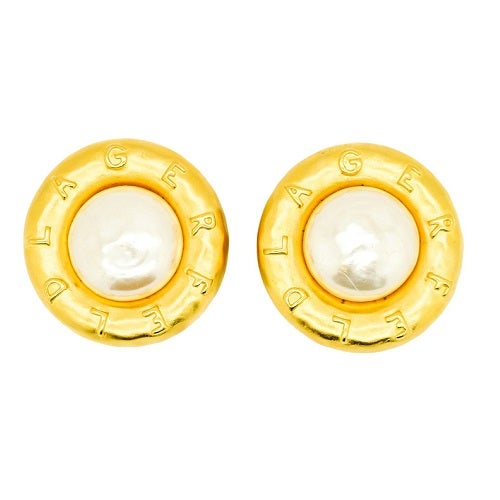 Image of SOLD OUT AUTHENTIC MASSIVE Karl Lagerfeld Pearl Logo Earrings