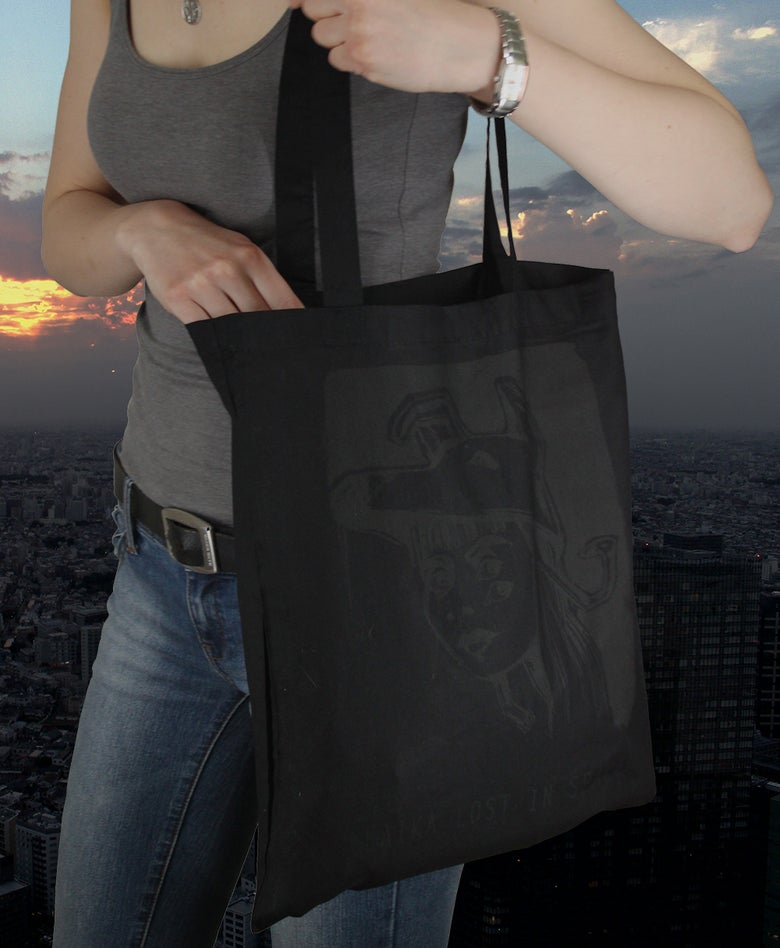 Image of (SOLD OUT) Laika lost in Space - Bag (Grey Print on Black)