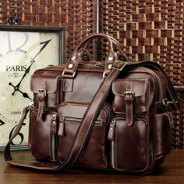 Image of Handmade Superior Leather Business Travel Bag / Tote / Messenger / Duffle Bag / Weekend Bag (n62)