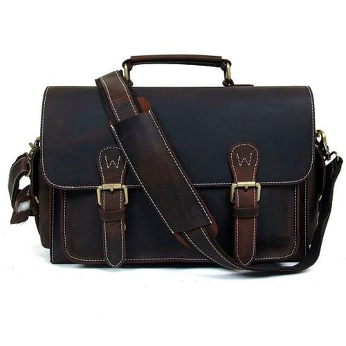 Image of Genuine Leather DSLR Camera Bag Leather Briefcase Messenger Bag 6919