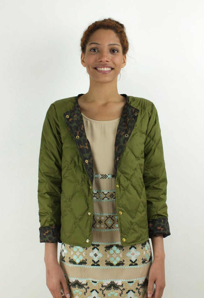 Image of GREEN/CAMO QUILTED JACKET
