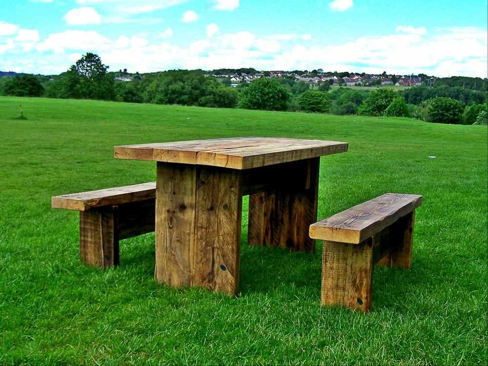Image of Rustic Twist Garden Table and Bench Set (clear)