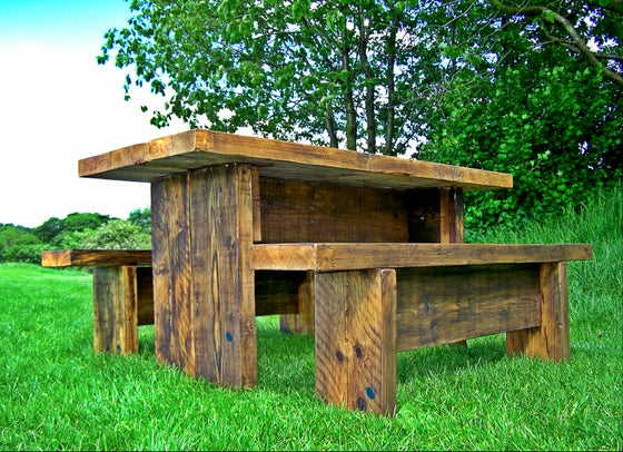 Image of Rustic Twist Garden Table and Bench Set (dark)