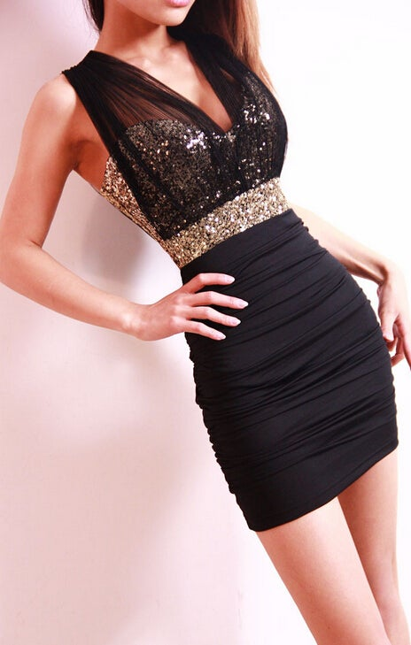 Image of White gauze sequins perspective backless dress