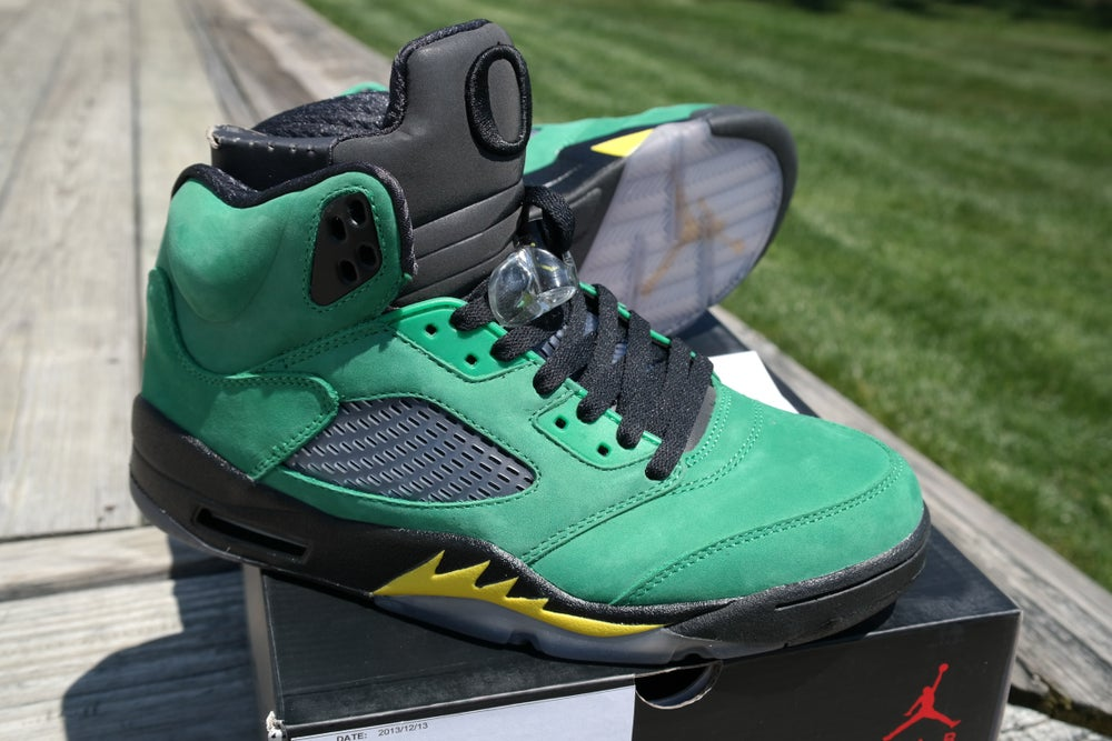 a04299f7926e Image of Air Jordan 5 Retro Oregon Duck Promo Sample