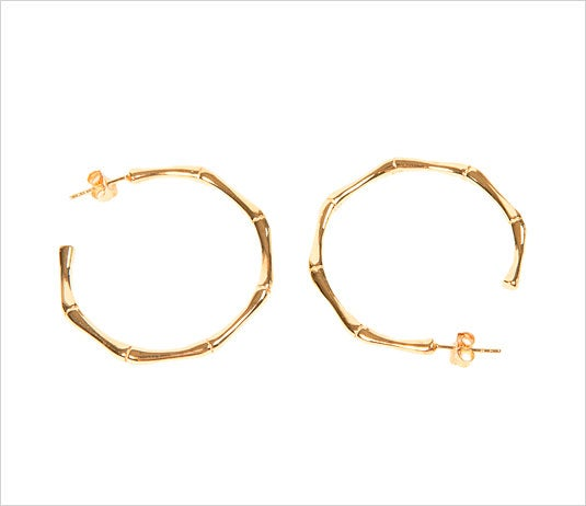 Image of GOLD BAMBOO HOOPS