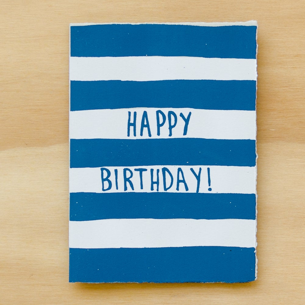 Image of Navy Striped Happy Birthday