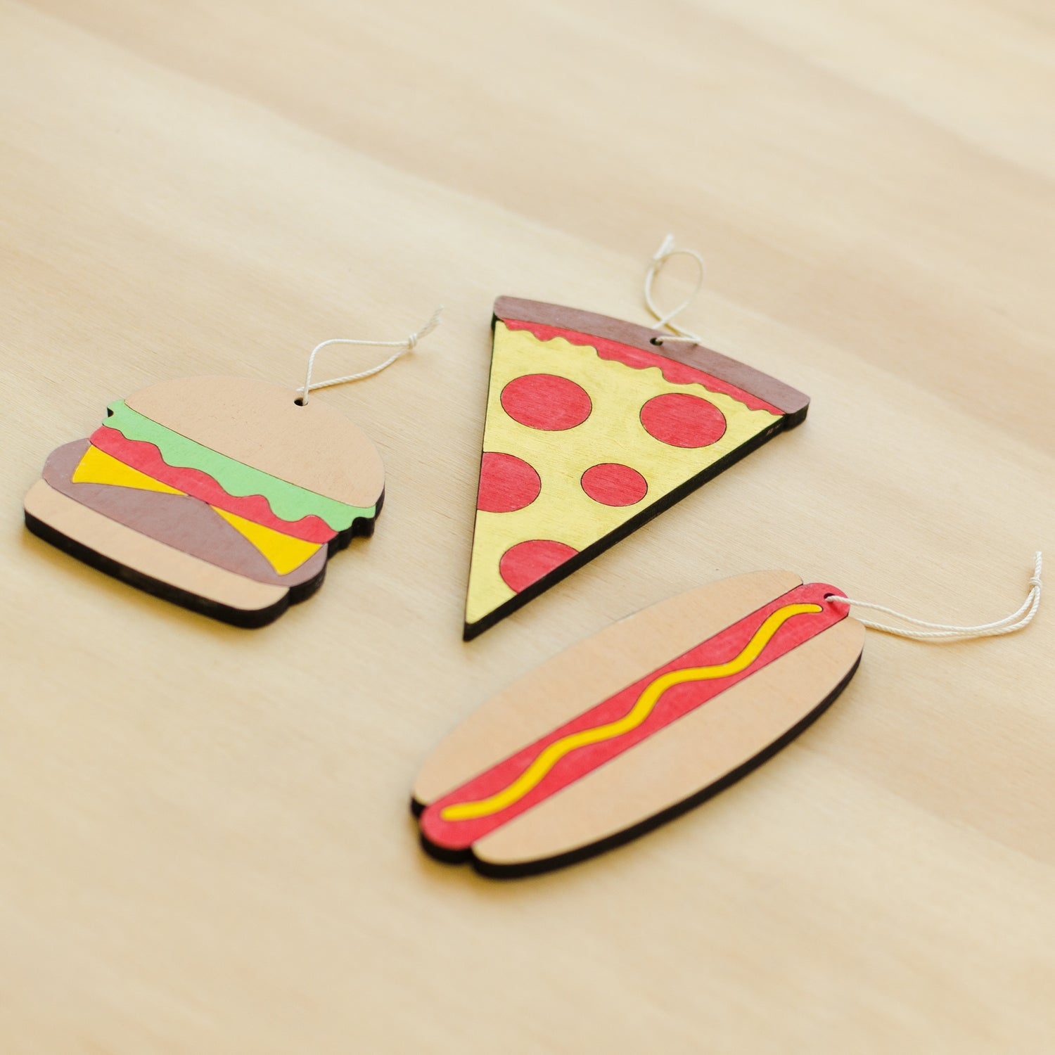 Image of Pizza, Hot Dog, or Burger Wood Ornament