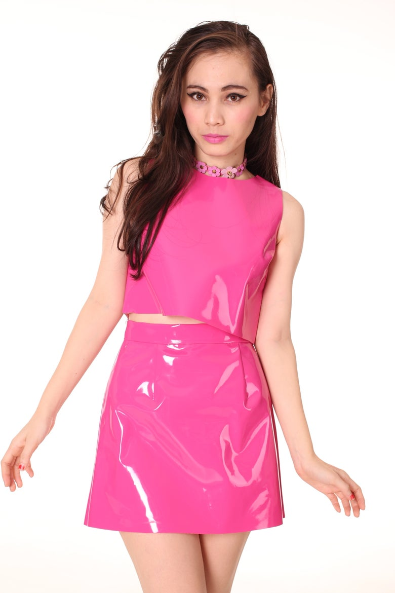 Image of Made To Order - Hot Pink PVC Motel Set