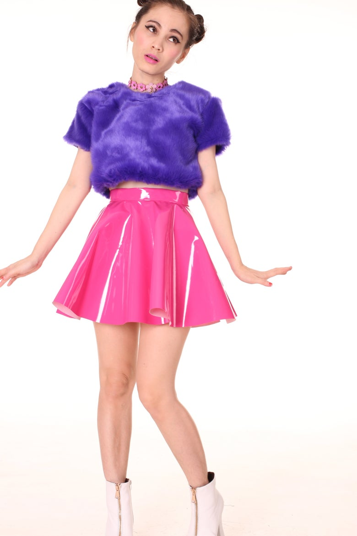 Image of Made To Order - Hot Pink PVC Skater Skirt