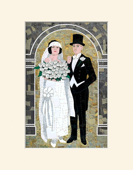 "Image of Bride and Groom - 11"" x 14"" High Quality Digital Matted Print"