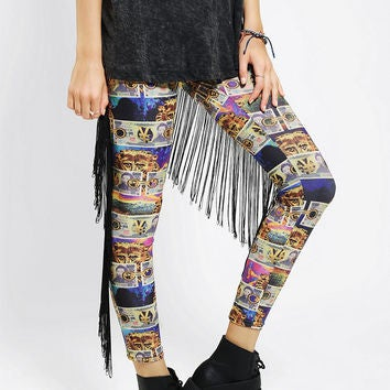Image of Bitching and Junkfood Denaro Leggings with Fringe Detail