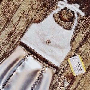 Image of Motel Bellflower Crop Top in Fluffy White